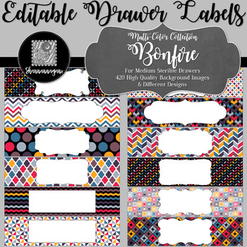 Editable Sterilite Drawer Labels - Multi-Color: Bonfire