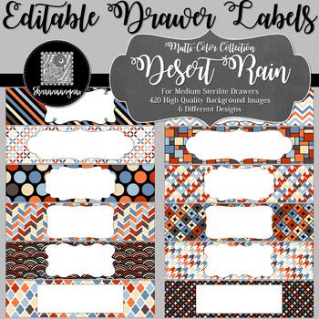 Editable Medium Sterilite Drawer Labels - Desert Rain