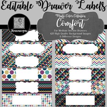 Editable Medium Sterilite Drawer Labels - Comfort