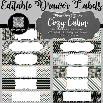 Editable Medium Sterilite Drawer Labels - Cozy Cabin   Editable PowerPoint