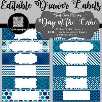 Editable Medium Sterilite Drawer Labels - Day at the Lake