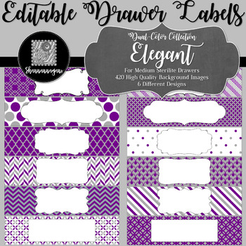 Editable Medium Sterilite Drawer Labels - Elegant