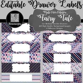 Editable Sterilite Drawer Labels - Multi-Color: Fairy Tale