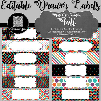 Editable Medium Sterilite Drawer Labels - Fall