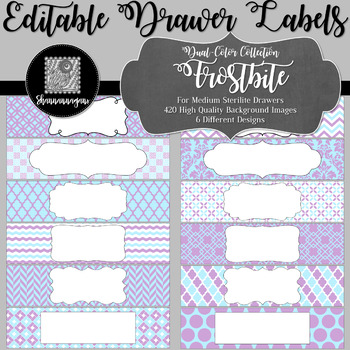 Editable Medium Sterilite Drawer Labels - Frostbite