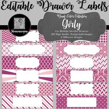 Editable Medium Sterilite Drawer Labels - Girly