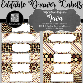 Editable Medium Sterilite Drawer Labels - Java