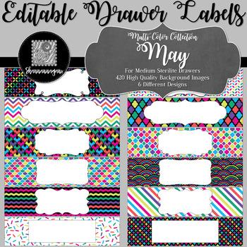 Editable Medium Sterilite Drawer Labels - May