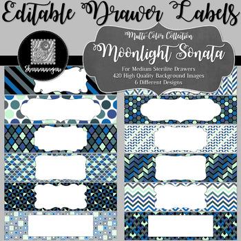 Editable Medium Sterilite Drawer Labels - Moonlight Sonata | Editable PowerPoint