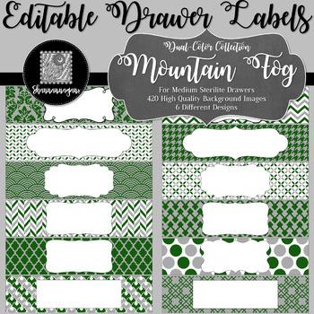 Editable Medium Sterilite Drawer Labels - Mountain Fog