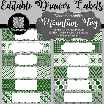 Editable Sterilite Drawer Labels - Dual-Color: Mountain Fog