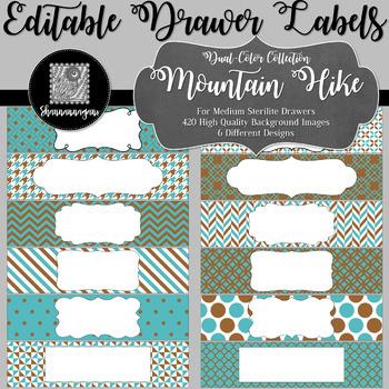 Editable Medium Sterilite Drawer Labels - Mountain Hike