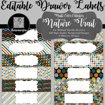 Editable Medium Sterilite Drawer Labels - Nature Trail