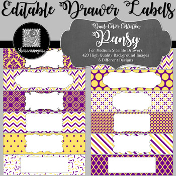 Editable Sterilite Drawer Labels - Dual-Color: Pansy