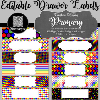 Editable Medium Sterilite Drawer Labels - Rainbow: Primary