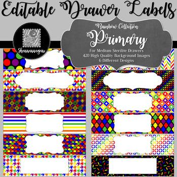 Editable Medium Sterilite Drawer Labels - Primary Color Scheme