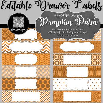 Editable Sterilite Drawer Labels - Dual-Color: Pumpkin Patch