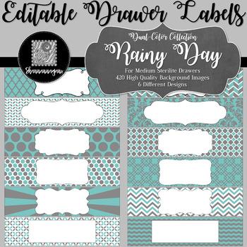 Editable Medium Sterilite Drawer Labels - Rainy Day