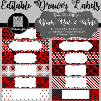 Editable Medium Sterilite Drawer Labels - Red and Black