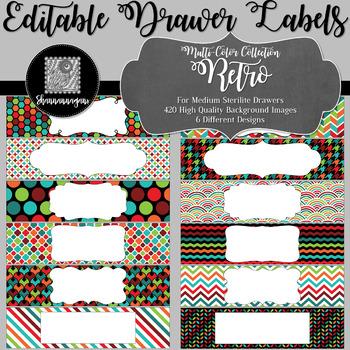 Editable Medium Sterilite Drawer Labels - Retro