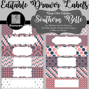 Editable Sterilite Drawer Labels - Dual-Color: Southern Belle