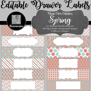 Editable Medium Sterilite Drawer Labels - Spring