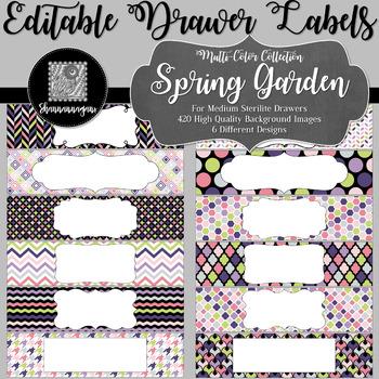 Editable Medium Sterilite Drawer Labels - Spring Garden