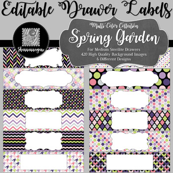 Editable Sterilite Drawer Labels - Multi-Color: Spring Garden