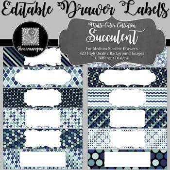Editable Sterilite Drawer Labels - Multi-Color: Succulent
