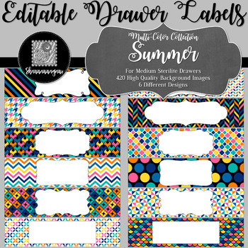 Editable Sterilite Drawer Labels - Multi-Color: Summer