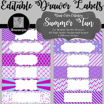 Editable Sterilite Drawer Labels - Dual-Color: Summer Fun