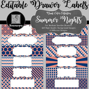 Editable Medium Sterilite Drawer Labels - Summer Nights