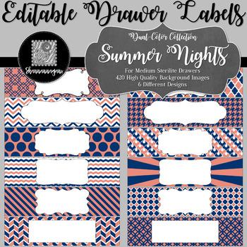 Editable Sterilite Drawer Labels - Dual-Color: Summer Nights