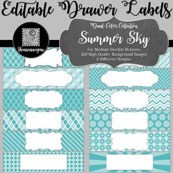 Editable Medium Sterilite Drawer Labels - Summer Sky