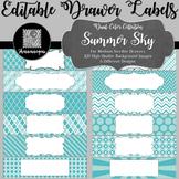 Editable Sterilite Drawer Labels - Dual-Color: Summer Sky