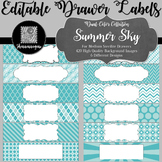 Editable Medium Sterilite Drawer Labels - Summer Sky