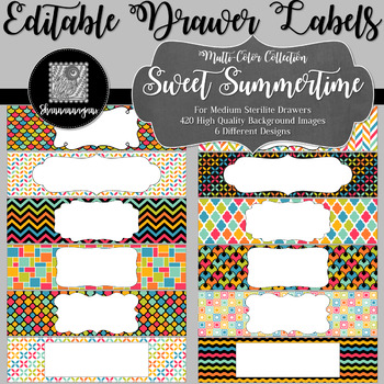 Editable Sterilite Drawer Labels - Multi-Color: Sweet Summertime