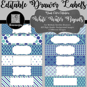Editable Medium Sterilite Drawer Labels - White Water Rapids