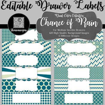 Editable Medium Sterilite Drawer Labels - Chance of Rain