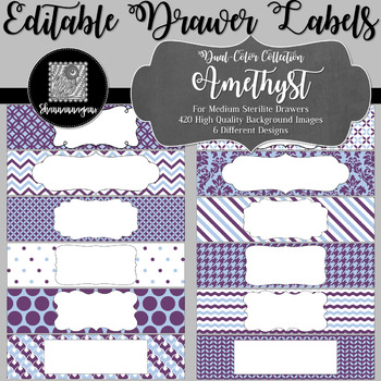 Editable Sterilite Drawer Labels - Dual-Color: Amethyst