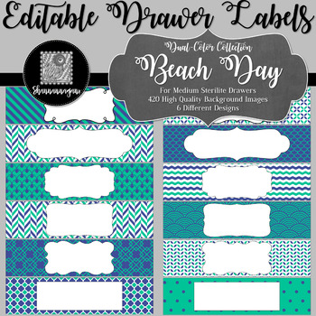 Editable Sterilite Drawer Labels - Dual-Color: Beach Day