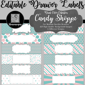 Editable Medium Sterilite Drawer Labels - Candy Shop