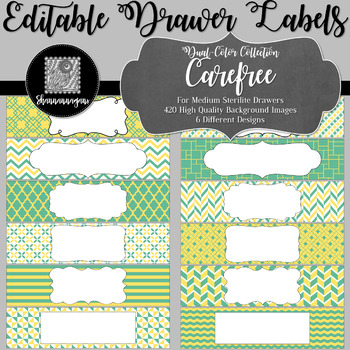 Editable Medium Sterilite Drawer Labels - Carefree