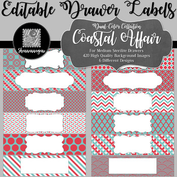 Editable Medium Sterilite Drawer Labels - Coastal Affair Color Scheme