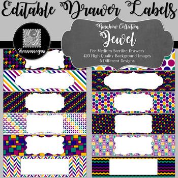 Editable Medium Sterilite Drawer Labels - Rainbow: Jewel