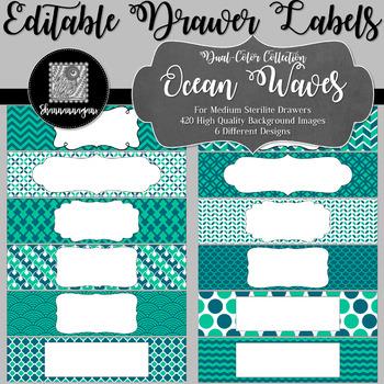 Editable Medium Sterilite Drawer Labels - In Ocean Waves