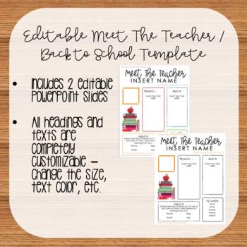 Editable Meet The Teacher/Back to School Template