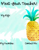 Editable Meet The Teacher Handouts -Watercolor Tropical Meet the Teacher