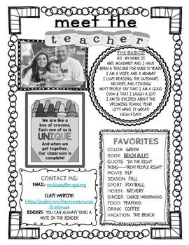 Editable Meet The Teacher Page