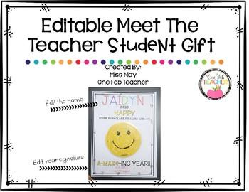 Editable Meet The Teacher Student Gift